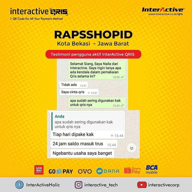 Klien InterActive QRIS Bisnis Rapsshopid Kota Bekasi