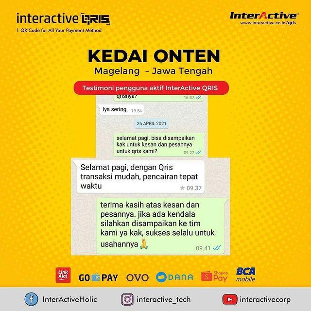 Klien InterActive QRIS Bisnis Kedai ONTEN Magelang Jawa Tengah